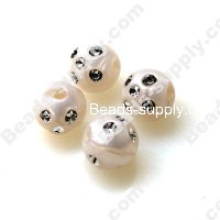 Pearl effect Beads , Silver accent Beads ,Round Beads 12mm ,Whit