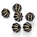 Plating Acrylic Beads, Golden Metal Enlaced, Corrugated Stripe Round, Black, 8mm, Hole: 1.6mm