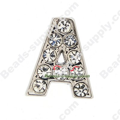 8MM rhinestone slider letters A - Click Image to Close