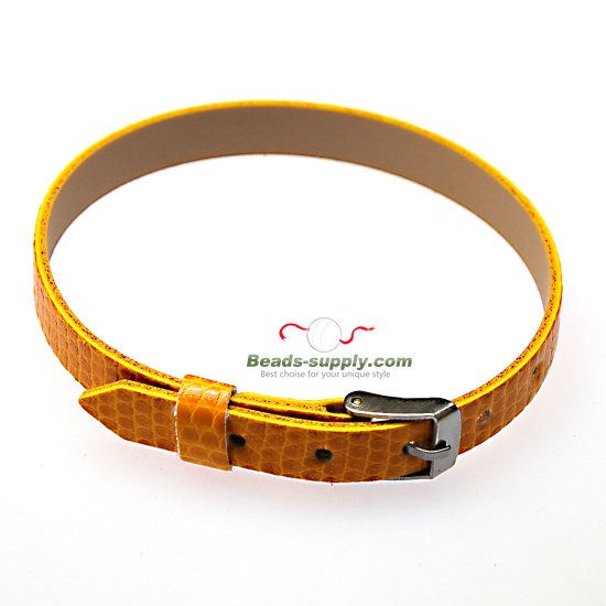 8mm DIY P.leather bracelet,fits for 8mm slide charms,yellow - Click Image to Close