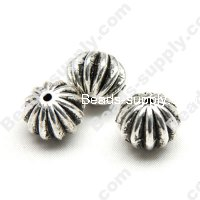 Antique Silver Plated Acrylic Flat Round Beads 12*18mm