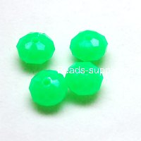 Bead, acrylic, green, 8*5mm faceted rondelle. Sold per pack.
