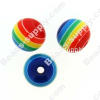 Bead, resin, Rainbow, 8mm round.