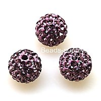Beads,Pave Polyclay Round Beads 10mm , Lt Amethyst