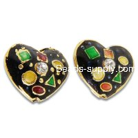 Cloisonne Crystal Heart Beads 17 mm