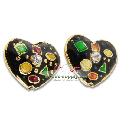 Cloisonne Crystal Heart Beads 17 mm - Click Image to Close