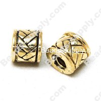 European Style Beads,18k Antique Gold,Flat Braid