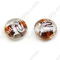 Foiled glass Coin Beads 20mm