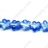 Glass Silver Foiled Flower Beads 15mm