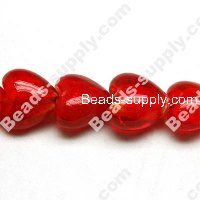 Glass Silver Foiled Heart Beads 12mm