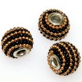 Indonesia Jewelry Beads, Drum shape,handmade beads with colorful ball chain,black/gold