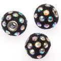 Indonesia Jewelry Beads, Drum shape,handmade with glass seed beads and rhinestone,black color