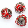 Indonesia Jewelry Beads, Oval shape,handmade beads with zinc alloy with rhinestone,red color
