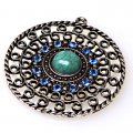 "Pendant,antiqued""pewter"" (zinc-based alloy), 42mm round piece with blue crystal. Sold per pkg of 50"