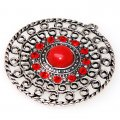 "Pendant,antiqued""pewter"" (zinc-based alloy), 42mm round piece with red crystal. Sold per pkg of 50"