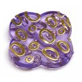 Purple Transparent/Gold foiled Beads 42mm*42mm*6mm