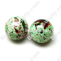 Spray painted Acrylic Round Bead 10mm , Green