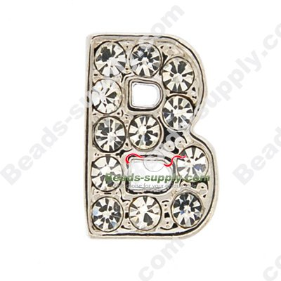 8MM rhinestone slider letters B - Click Image to Close