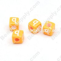 Acrylic Beads with Letter 6x6mm