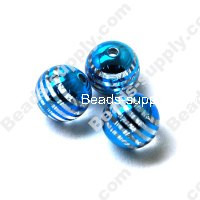 Acrylic Plated Beads ,Striated surface,Round Beads 14mm, Blue