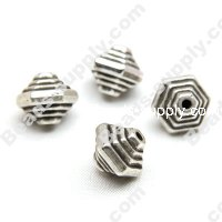 Antique Silver Plated Acrylic Hexagon Beads 9x10mm