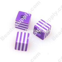 Bead, Resin, Purple/White, Square 8*8 MM