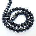 Bead,glass,crystal,hematite, 6x8mm faceted rondelle. Sold per 10 strands.