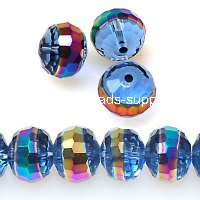 Bead, glass rondelle, centre part plated,lt blue with rainbow, 9x12mm rondelle beads. Sold per pkg of 160 PCS