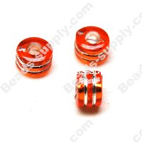 Bead,resin with silver-color foil, Orange, 6*9mm