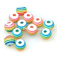 Beads,Resin Beads, multi color, 6mm round Laminated Beads
