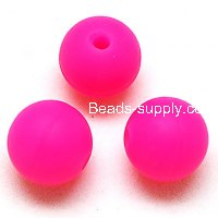 Beads,Silicon Beads,14mm Round Beads,Hot Pink