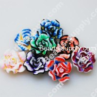 Fimo Mixed Color Flower Beads 20mm,Assorted