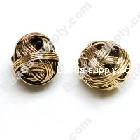 Metal Wired Antique-Gold Plated Beads 16mm