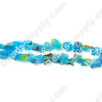 Millefiori Glass Multi-Flower Chips Beads