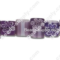 Millefiori Glass Single-Flower Square Beads 6 mm
