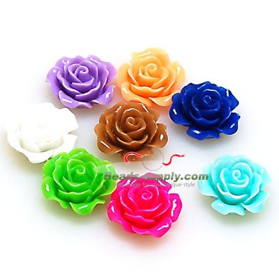 Resin Flower Cabochon, layered,mixed color, more colors for choice, 10mm, Sold by 200 pieces - Click Image to Close