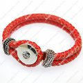 Trendy fashionable noosa braided genuine leather bracelets,orange color