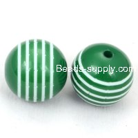 18mm engraved Laminated strips Carved acrylic round beads,green
