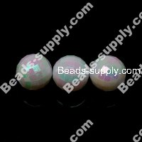8 MM Acrylic Football Beads , AB Colored , White
