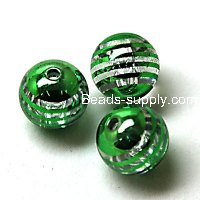 Acrylic UV Plated Beads ,Striated surface,Round Beads 16mm,Green
