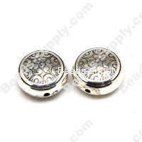 Antique Silver Plated Acrylic Flat Round Beads 10x18mm