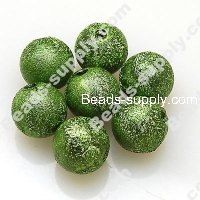 Bead,acrylic shimmering beads,green,wrinkle Round Beads 6mm