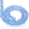Bead,glass,AB plated crystal,middle blue, 6x8mm faceted rondelle. Sold per 10 strands.