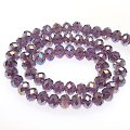 Bead,glass,AB plated crystal,purple, 6x8mm faceted rondelle. Sold per 10 strands.
