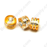 Bead,resin with silver-color foil, Peach, 6*9mm