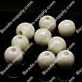 Beads,8mm round ceramic beads,white AB color