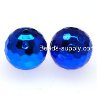 Beads,acrylic,UV plated 18mm faceted round UV coated plastic beads,blue plated perles,sold of 135 Pcs