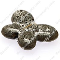 Beads,ceramic butterfly,7x24x31mm porcelain beads,leopard-spot,black