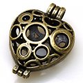 Charm,antique bronze(zinc-based alloy), 30x41mm openable heart charm,sold per pkg of 50PCS