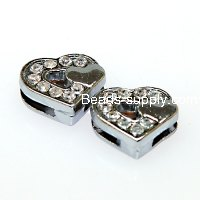 Charms,double heart slide charm,fits 8mm bracelet